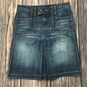7 For All Mankind Inverted Pleat Denim Skirt, 27